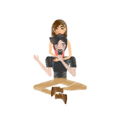 drawing couple love sitting vector image
