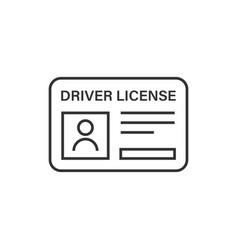 Driver license icon in flat style id card on vector