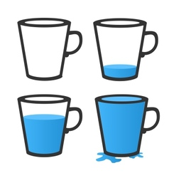 Empty and full mug vector
