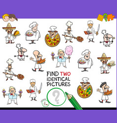 find two identical chef characters game for kids vector image
