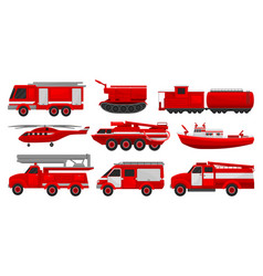 firefighting vehicles set emergency service for vector image