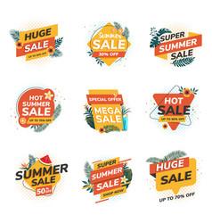 Flat design origami summer sale labels 2 vector