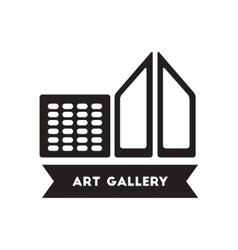 Flat icon in black and white style building art vector
