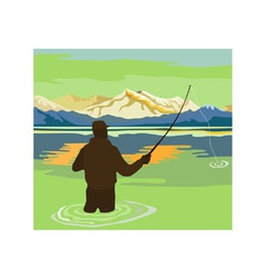 Fly Fisherman Rod and Reel Retro vector