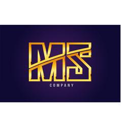 Gold golden alphabet letter ms m s logo vector