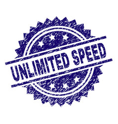 Grunge textured unlimited speed stamp seal vector