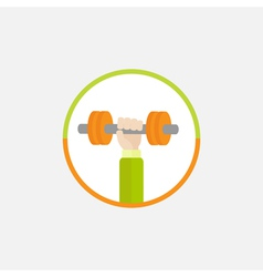 Hand holding dumbell Round Colored Icon Sport vector