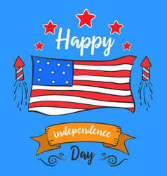 Happy independence day style greeting card vector