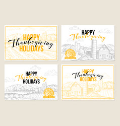 Happy thanksgiving hand drawn greeting cards set vector