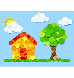 House and tree in color circles vector image