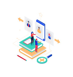 hr management - modern colorful isometric vector image