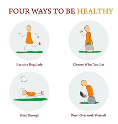 Infographics - FOUR WAYS TO BE HEALTY vector