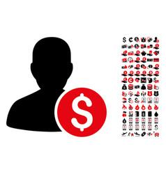 investor icon with 90 bonus pictograms vector image