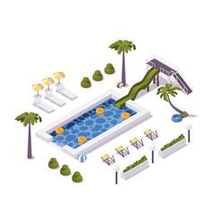 isometric pool scene with palm trees water slide vector image