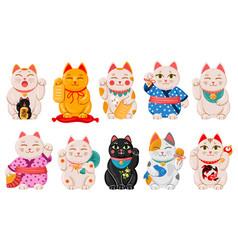 japanese maneki neko cats cartoon lucky japan vector image