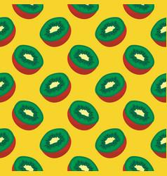 Kiwi fruit seamless pattern on yellow vector