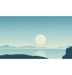 Landscape river with hill backgrounds vector