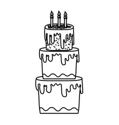Line big cake with three floors style vector