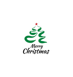 logo of a painted christmas tree on a white vector image