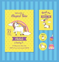 magical time birthday invitation card template vector image