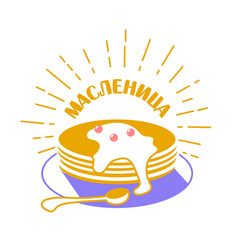 maslenitsa russian icon in a linear vector image