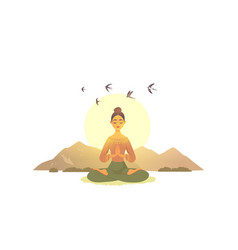 meditation girl mountains vector image