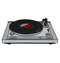 Modern silver gramophone vector
