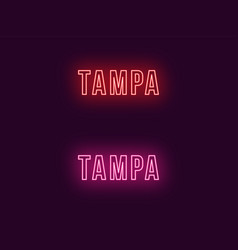 Neon name of tampa city in usa text vector