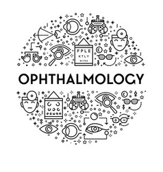 ophthalmology banner with eyesight testing linear vector image