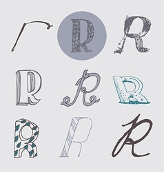 Original letters R set isolated on light gray vector