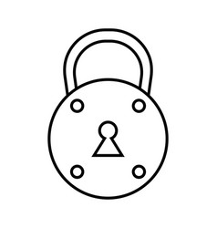 padlock flat black and white linear icon of lock vector image