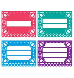 papel picado design templates set - mexican vector image