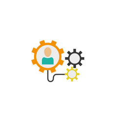 people gears connected idea icon flat style vector image