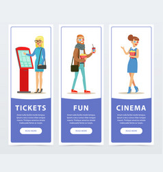 people going to watch movies cinema banners set vector image