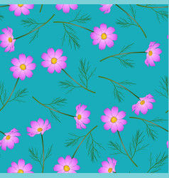 Pink cosmos flower on indigo blue background vector