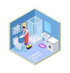 plumbing service isometric bathroom vector image