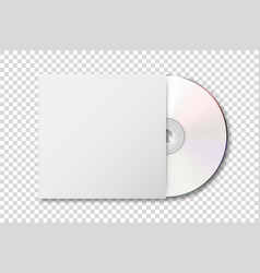 realistic 3d white cd with cover icon vector image