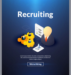 Recruiting poster of isometric color design vector