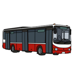 Red and white city bus vector