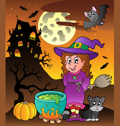 Scene with halloween theme 3 vector