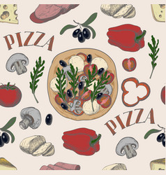 Seamless pattern with ingredients for pizza vector