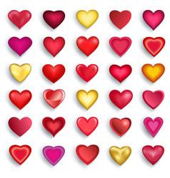 Set 3d heart for day valentine wedding vector