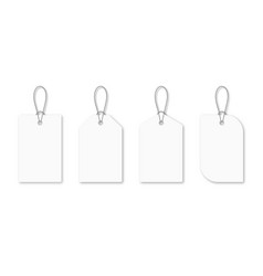 Set blank white tags with rope white shopping vector