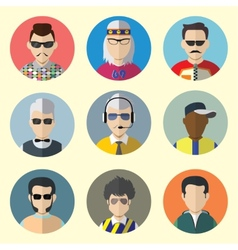 set circle icons with man sunglasses vector image