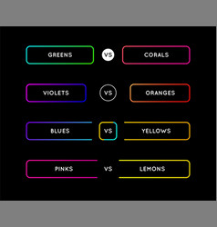 set game versus screen fight backgrounds vector image