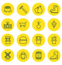 Set of 16 agriculture icons includes rake vector