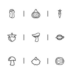 set of 9 editable food outline icons includes vector image