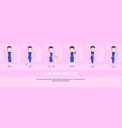 set of cartoon woman in elegant dress in different vector image