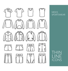Set with thin line icons on mens sportswear theme vector image