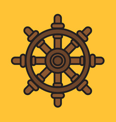 ship steering wheel colorful icon on yellow vector image